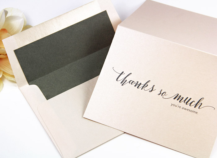 Metallic blush thank you note and matching envelope lined with pre-cut gray liner paper