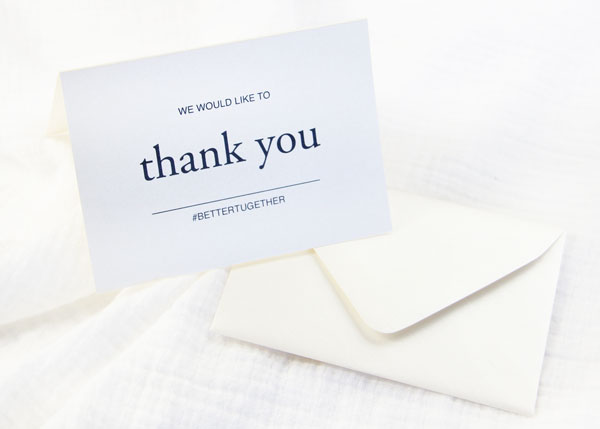 Free printable thank you card printed on Stardream Opal Folded Card