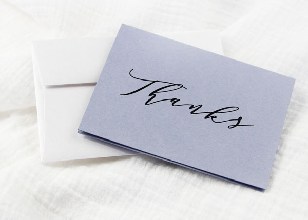 Free printable thank you card printed on Gmund Colors Storm Cloud Folded Card