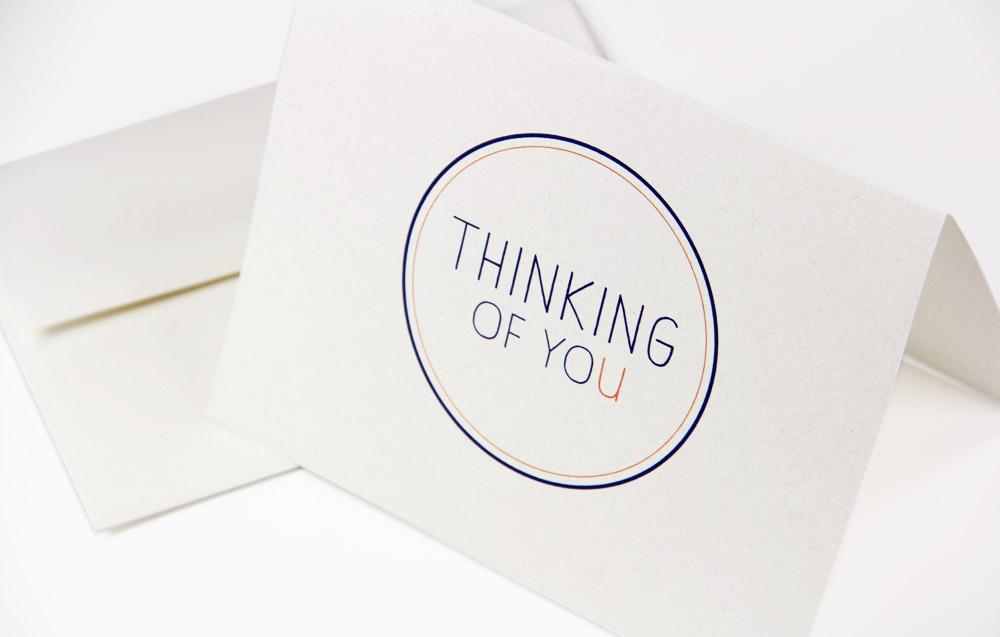 Thinking of you card printed on Neenah Environment Moonrock