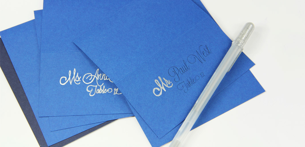 Trace printing on place cards with silver gel pen for calligraphy look