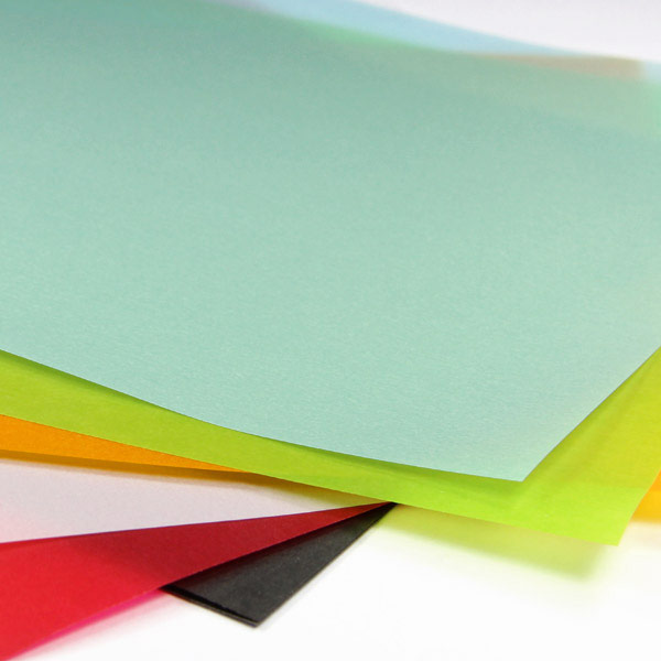 Translucent vellum paper in two weights and a variety of finishes and colors from LCI Paper