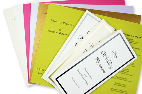 array of tri-fold program papers.