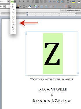 type monogram letter in text box