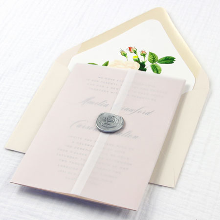 Invitation with vellum gatefold wrap. Use lightweight vellum for invitation jackets, wraps, sleeves and more.