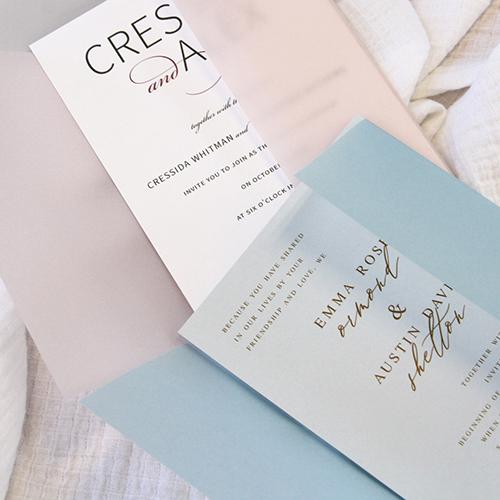 Vellum wedding invitation idea - wrap invites in colorful vellum jacket