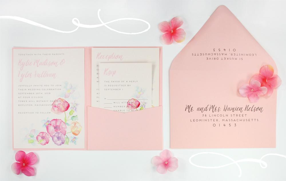diy pink watercolor pocket invitation