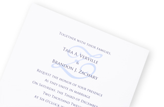 White Wedding Invitation with Blue Monogram