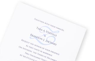 White Wedding Invitation with Blue Monogram