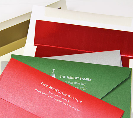Holiday envelopes with white printing
