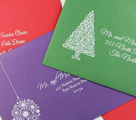 Metallic holiday envelopes with white printing