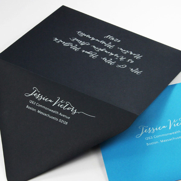 Envelopes printed in white ink