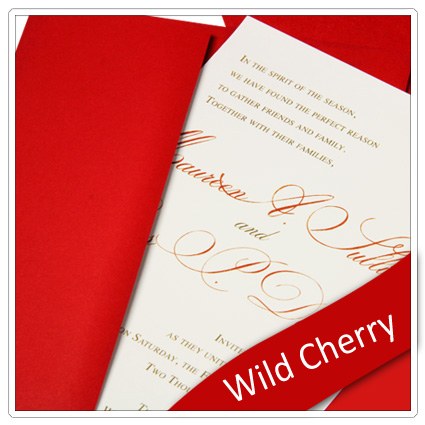 invitation made with wild cherry pop-tone paper