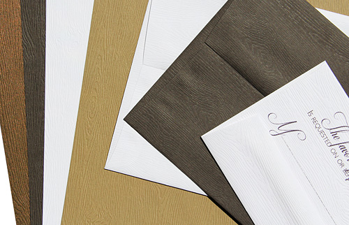 wood grain papers and envelopes