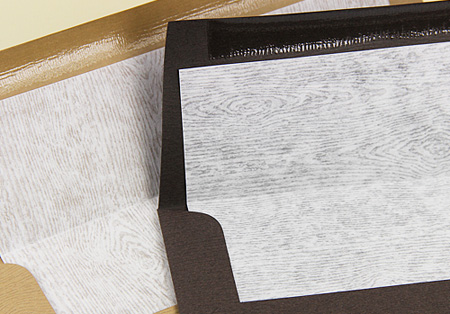 translucent wood grain vellum as an envelope liner