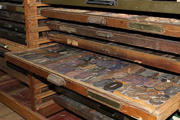 Trays of wooden letterpress letters
