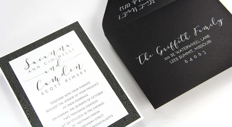 Wood Grain Brasilia Black Card Stock (#10) invitation with matching Ebony (#10) smooth matte envelope