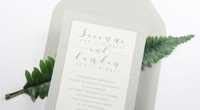 Wood Grain Brasilia Grey Card Stock (#23) invitation with matching Stone (#23) envelope