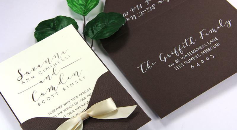 Wood Grain Bubinga Pocket Card Invitation with matching Chocolate (#37) smooth matte envelope
