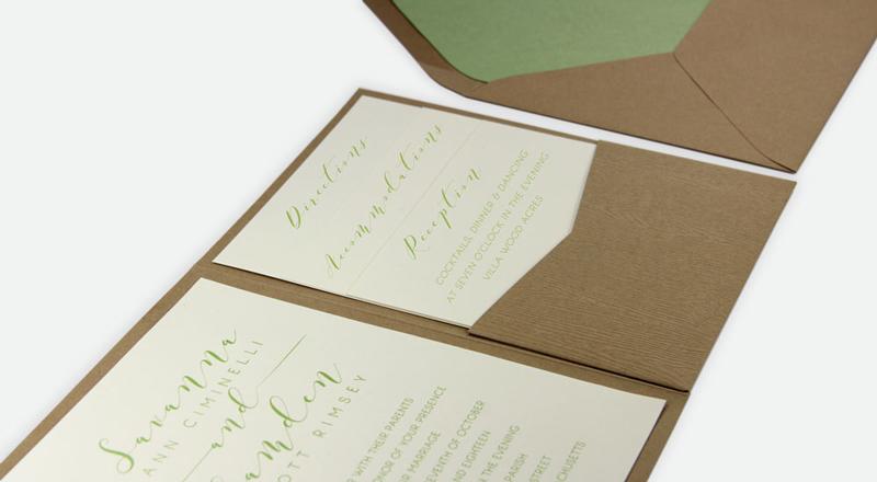 Wood Grain Tindalo Posh Pocket Card Invitation (#12) with matching Beach Sand (#12) smooth matte envelope