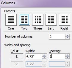 Word format 2 columns