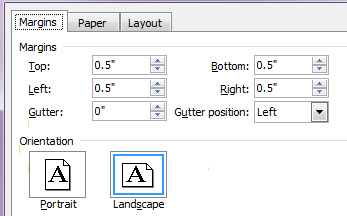 Word set margins orientation landscape