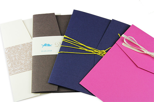 invitation pockets with ribbon twine and bands