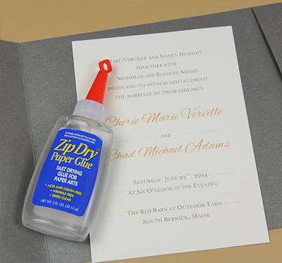 pocket invitation glued with Zip Dry paper glue
