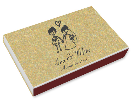 Hand Drawn Bride Groom Printed Matchboxes