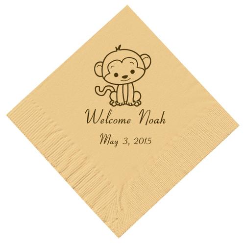 Baby Monkey Personalized Napkins