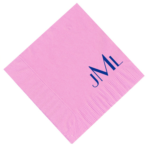 Angled 3 Letter Block Monogram Personalized Napkins