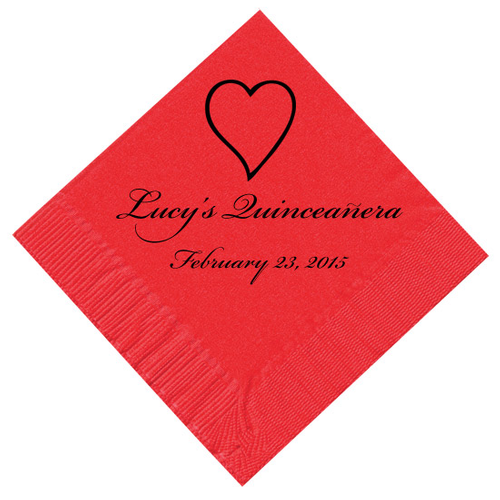Heart Outline Personalized Napkins