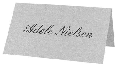 Metallic Silver, Folded Place Cards, Stardream 81lb Text