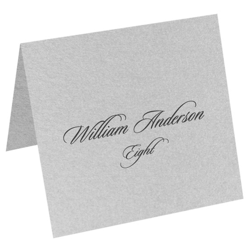Metallic Silver, Square Place Cards, Stardream 81lb Text