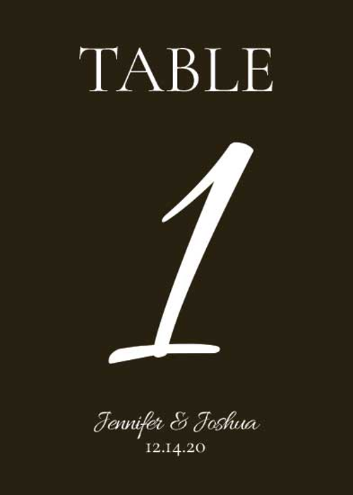 Table Number Cards (D1): Ebony