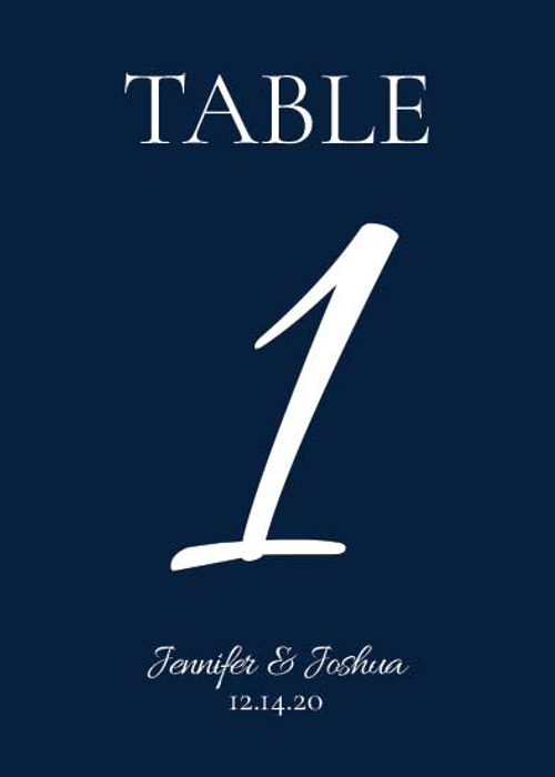 Table Number Cards (D1): Midnight Blue