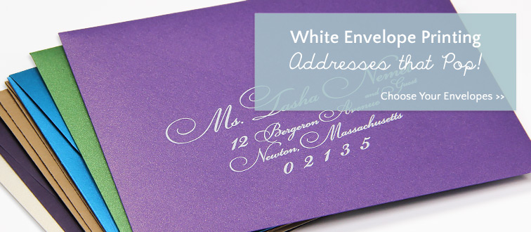 White printing and addressing on dark colored envelopes from LCI Paper
