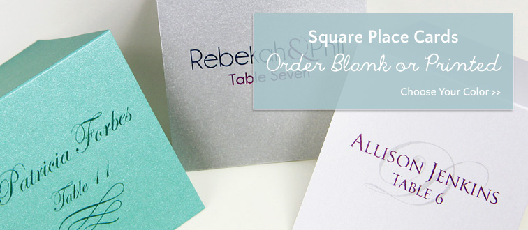 Shop modern square place cards in variety of colors and finishes. Order blank or printed through lcipaper.com