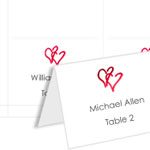 Floating Hearts 4Up Place Cards