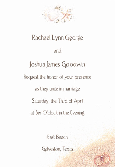 Beach Wedding Invitation - Elegant Shells (50 Pack)