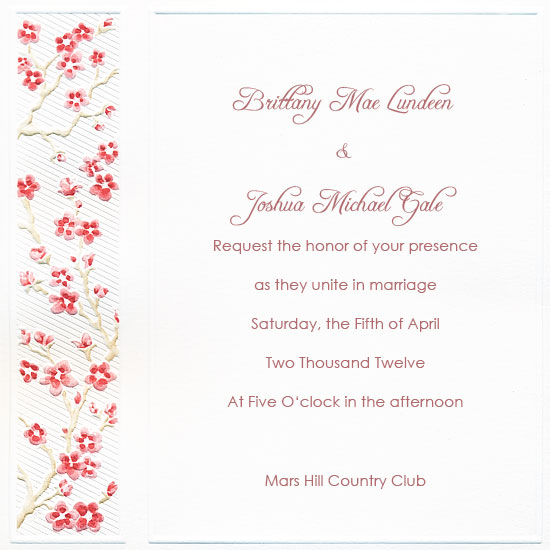 Printable Wedding Invitation - Cherry Blossom Floral (50 Pack)