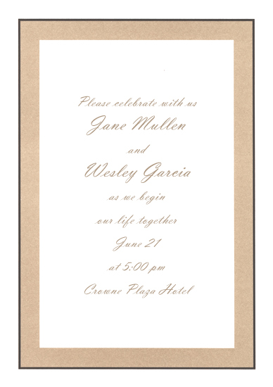 Blank Wedding Invitation - Taupe & Chocolate (50 Pack)