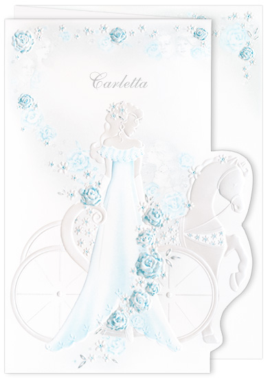 Blank Quinceanera Invitations - Girl Carriage Aqua (50 Pack)