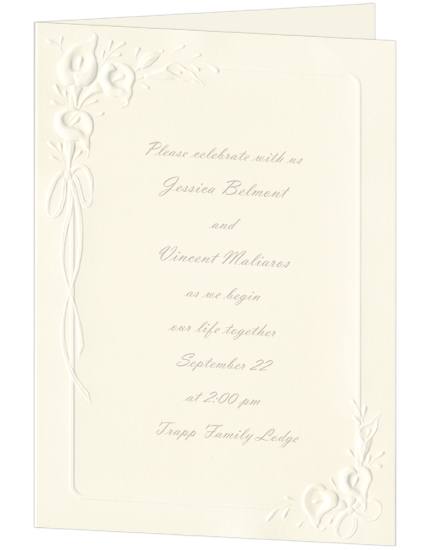 Calla Lily Wedding Invitation Ecru (50 Pack)