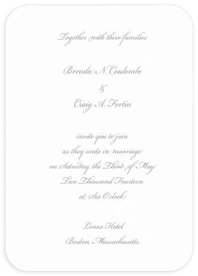 Blank Wedding Invitation - Round Corner White (50 Pack)