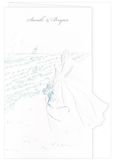 Beach Wedding Invitation - Bride Groom Aqua (50 Pack)