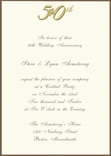 Printable 50th Golden Anniversary Invitation