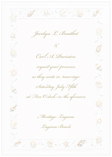 Printable Seashell Sand Wedding Invitations (50 Pack)