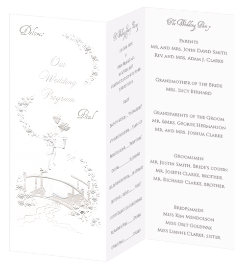 Wedding Program Paper - Bride Groom Bridge Pearl