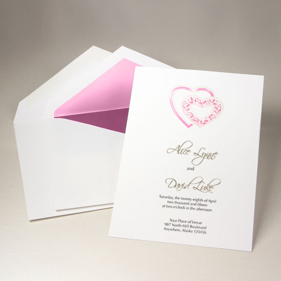 Bubblegum Pink Embossed Double Hearts With Ribbon